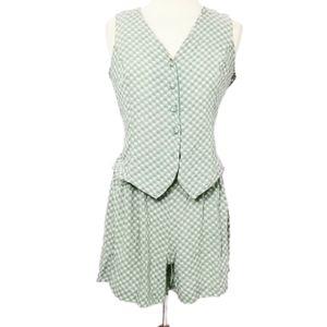 Vintage 90s Floral Romper Skort Dress